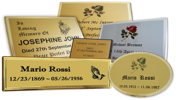 a selection of completed name plates